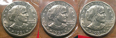 1981 P D S Susan B Anthony Dollar Set 3 Brilliant Uncirculated Mint Set Coins