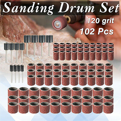 "102Pcs 1/2'' 3/8'' 1/4""Mixed Sanding Drum Sleeves+12Drum Mandrel For Rotary Tool"