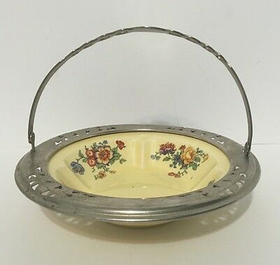 Antique Golden Maize Candy Bowl With Handle Made For Faber Ware By Sebring