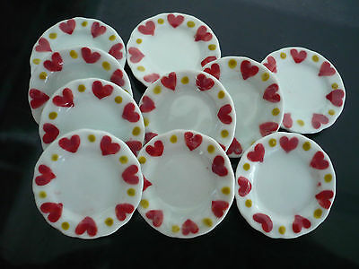 10x25 mm Cockeral  Scalloped Plate Dollhouse Miniatures Ceramic Hand Painted