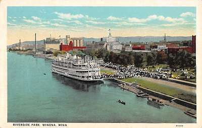 Winona Minnesota Riverside Park Birdseye View Antique Postcard K26781