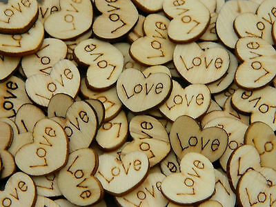 50 x Wooden Love Hearts - Scrapbooking, Card Craft, Decoration, Wedding, Charms
