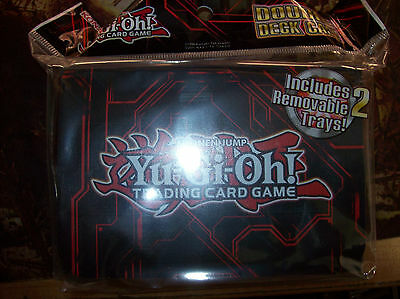 Yugioh Double Deck Case Sealed Red Zexal Konami Flip Top & 2 Removalble Trays