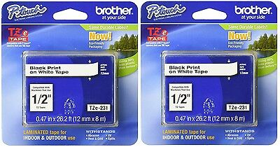 "2 Packs - Brother TZe231 -  12mm 1/2"" - BLACK on WHITE -  P-Touch TZ tape"