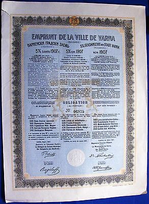 Bulgaria. 5% Gold Loan (bond) issued by City of Varna in 1907