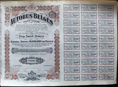 Belgium bond. Autobus Belges issued in 1924 completed FV 100 Franks