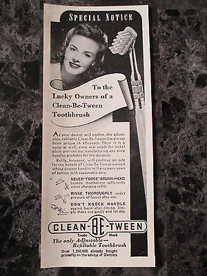 "VTG 1942 Clean-Be-Tween Toothbrush Print Ad, 6.25"" X 2.5"""