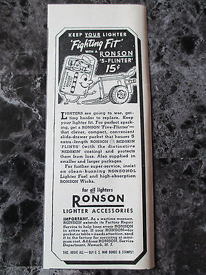 "VTG 1942 Ronson 5-Flinter Lighter Print Ad, 6.75"" X 2.625"""