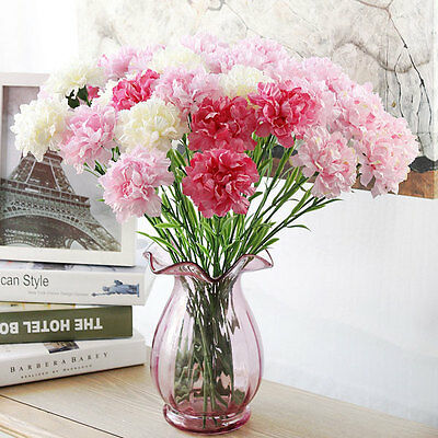 Artificial Flower Fake Silk Carnation Bouquet Home Wedding Party Floral Decor