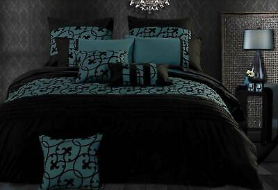super King / Queen / king size Black Teal green Quilt Cover / doona cover Set