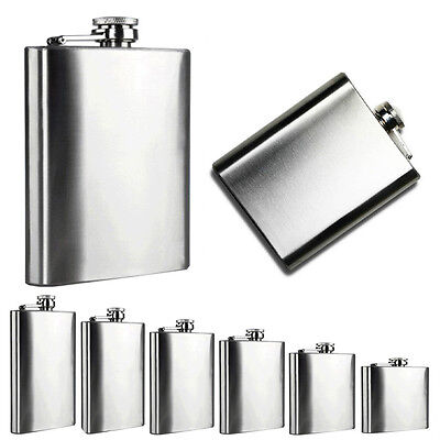10 8 7 6 5 4 oz Stainless Steel Hip Flask Liquor Whisky Alcohol Cap Funnel Drink