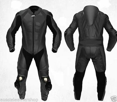 Black 2Pc Motorbike 100% Cowhide Leather Suit Racing Biker Suit Ce All Sizes