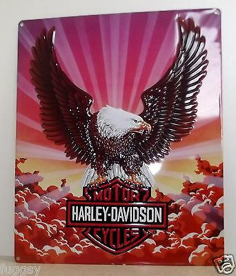 Harley Davidson Eagle with Clouds Die Cut Embossed Tin Sign NEW
