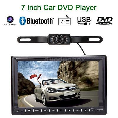 "7"" 2 DIN Car Stereo DVD Player GPS Navigation Bluetooth Radio TV HD Camera B1F6"