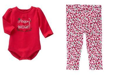 NWT Gymboree Cozy Cabin Happy & Bright Bodysuit Leggings 6-12 Months Baby Girl