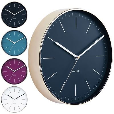 Karlsson 27.5cm Minimal with Copper or Gold Case Round Modern Silent Wall Clock