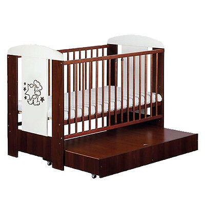 BABY COT WALNUT LUXURY BRAND NEW OPTIONAL DRAWER AND MATTRESS 120x60 cm