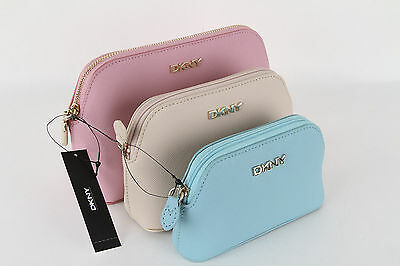 DKNY Set of 3 Bryant Park Saffiano Cosmetic Pouches Brand New With Tag Only