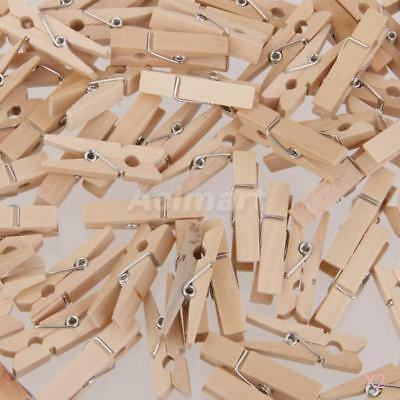 2x 100Pcs Natural Wooden Mini Craft Pegs Cloth Photo Hanging Spring Clips 25mm