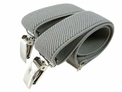 Baby / Childrens 0-2 Yrs Elasticated Clip On Braces / Suspenders Grey New