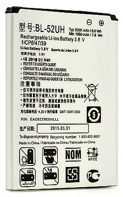 Extended Slim 2020mA Battery for Tracfone/Net10/Straight Talk LG Ultimate 2 L41C