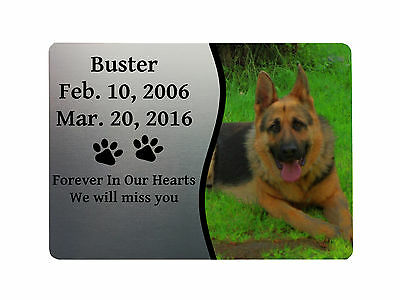 PETS DOG MEMORIAL PLAQUE PHOTO 3 Metal Aluminium Sign Plaque Custom Personalised