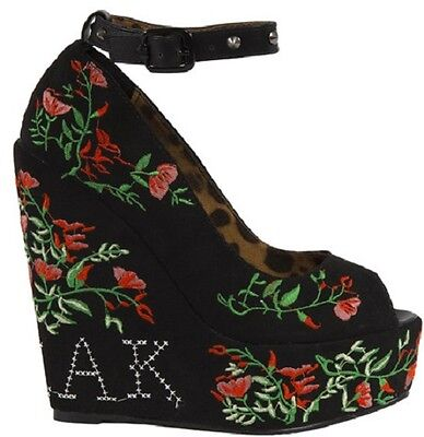cf7cad05fb Iron Fist Kind Of A Freak Rose Tattoo Skull Wedge Platform Heel Punk Goth  Shoes