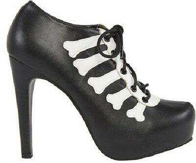 d0cb0e883d Iron Fist Wishbone Skeleton Bones Tattoo Skull Platform Heels Punk Goth  Shoes