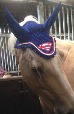 Superman Horse Breathable Cotton Ear Bonnet/net/mask/hood Crochet Fly Veil Tack