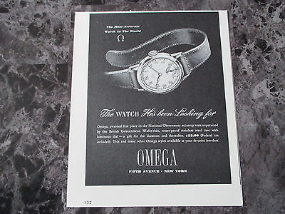 "Vintage 1942 Omega Watch Print Ad, 6.75"" X 5.6"""