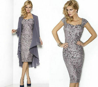 Lace Long Jacket Mother of the Bride/Groom Dress Formal Evening Dress Size 6-20