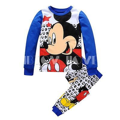 2PCS Boys Kids Baby Mickey Mouse Sleepwear Homewear Pajamas Set Outfit Size 2-7Y