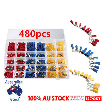 480XElectrical Wire Connector Insulated Assorted Crimp Terminals In Plastic Case