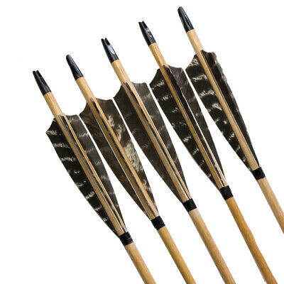 Hot!  Handmade Wooden Arrows Archery Natural Shield Turkey Feather For Longbow