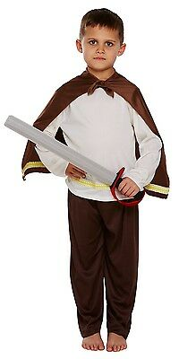 Boys Brown Viking Historical Book Week Fancy Dress Costume Outfit 4-12 yrs