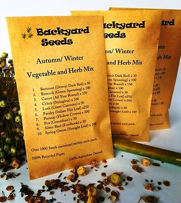 ORGANIC Autumn/ Winter Vegetable and Herb Seed Mix OVER 1000 SEEDS