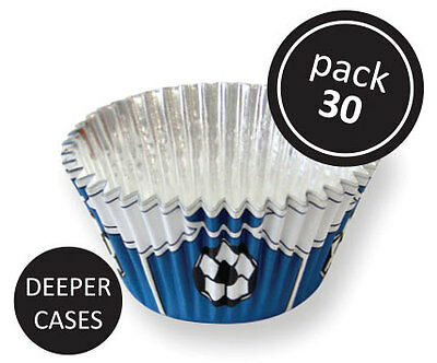 PME 30pk Blue Football Foil Standard Cupcake Cup Cake Muffin Party Baking Cases