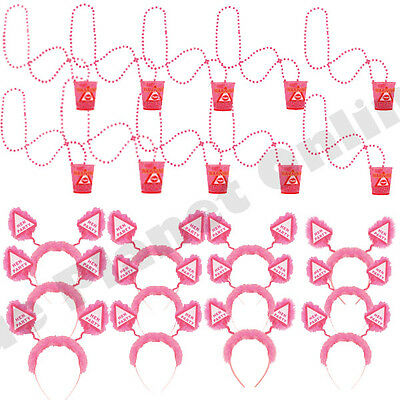 12X Hen Night Party Do Boppers Headband & 12X Shot Glass Glasses Girls Night Out
