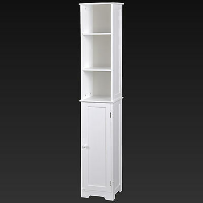 Tall White Wooden Shelving Unit With Cupboard Stylish MDF Bathroom Storage