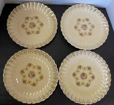 Fortune Tudor Gold Trojan by Sebring 22 K Gold 9 Inch Luncheon Plate Set of 4