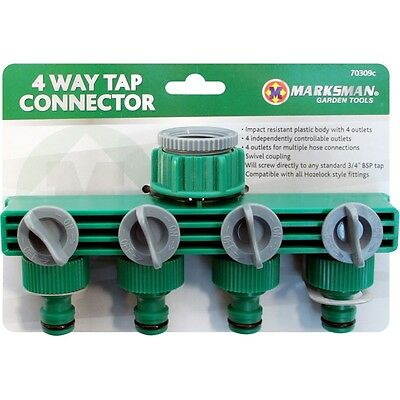 4 Way Tap Connector Hose Adapter Multi Pipe Outlet 1 into 4 with Switches on off