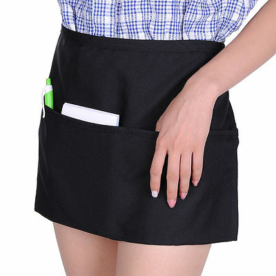 "3 Black Unisex Waiter Waist Half Short Apron Restaurant Home 22""x12"" 3 Pocket"