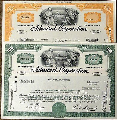Lot of 3 different types.  Stock certificate Admiral Corporation Chicago