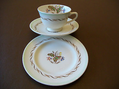 ROYAL DOULTON Vintage WOODLAND Pattern Trio of Cup, Saucer & Side Plate (2nds)
