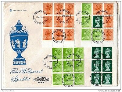 GB QEII 1980 Wedgewood Illustrated FDC Cover with All 4 Booklet Panes X2208