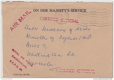 1957 Certified Official RAF Khormaksar BFPO69 Cover ZZ1158