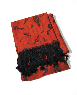 Red Pashmina Cashmere Wool Scarf Music Clef Notes Women Ladies Gift - Hand Made
