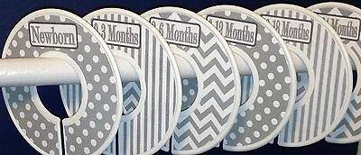 6 Baby Closet Dividers in Grey White Dots Stripes Chevrons Clothes Organizers