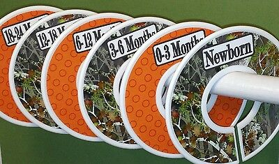 6 Baby Closet  Dividers  in Camo with Orange Dots Shower Gift Clothes Organizers