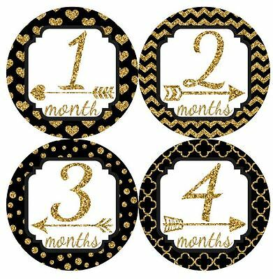 12 Baby Monthly Milestone Stickers Black Gold MS023 Baby Shower Gift Photo Prop